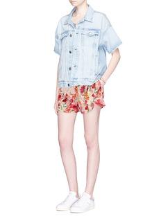 LPA 'Border Floral' print stretch satin shorts