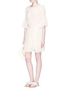 LPA Ruffle crepe V-back dress