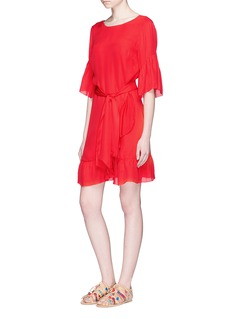 LPARuffle crepe V-back dress