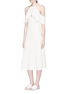 LPA Ruffle coldshoulder ponte jersey A-line midi dress