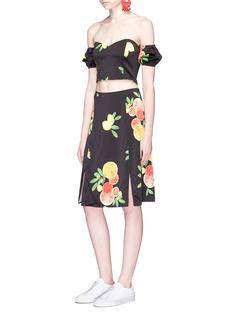 LPA Citrus print slit front satin skirt