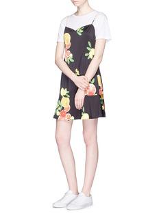 LPACitrus print open back satin slip dress