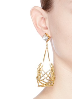 Erickson Beamon 'Third Dimension' Swarovski crystal caged hoop earrings
