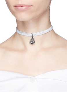 Erickson Beamon 'Choked Up' Swarovski crystal teardrop velvet choker necklace