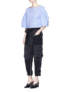 3.1 Phillip Lim Ruched wide sleeve cropped cotton top