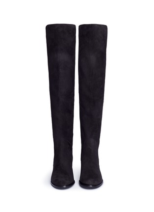 Front View - Click To Enlarge - Stuart Weitzman - 'Reserve' stretch suede knee high boots