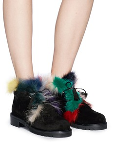 Stuart Weitzman 'Fur Walla' lace up faux fur boots