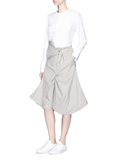 bassike Asymmetric belted cotton drill skirt