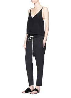 bassike 'Stretch Tapered Pant II' in woven cotton blend