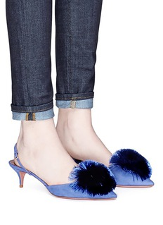 Aquazzura 'Powder Puff 45' pompom slingback suede pumps