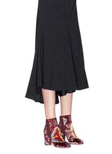 Aquazzura 'Kaia 85' ethnic print ottoman velvet Chelsea boots