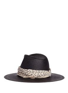 Janessa Leone'Josephine' bandana Panama straw fedora hat