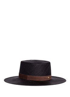 Janessa Leone'Lina' suede band Panama straw boater hat