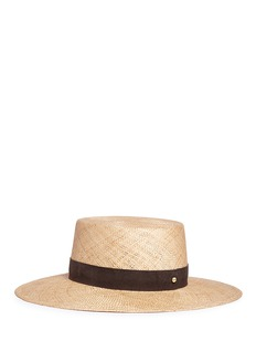 Janessa Leone'Jade' suede band straw boater hat
