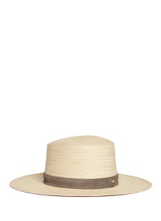 Janessa Leone'Isabelle' suede band straw boater hat