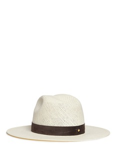 Janessa Leone'Marcell' suede band packable straw fedora hat