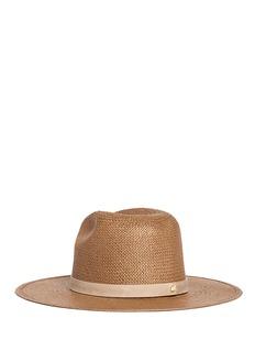 Janessa Leone'Adriana' suede band packable straw fedora hat