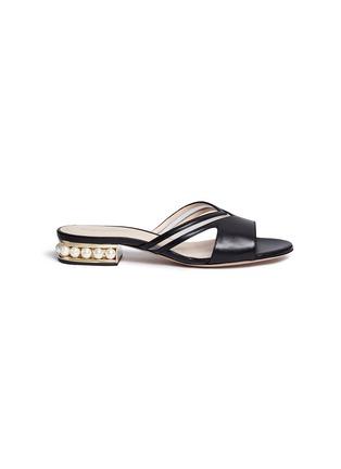 Main View - Click To Enlarge - Nicholas Kirkwood - 'Casati' faux pearl heel leather sandals
