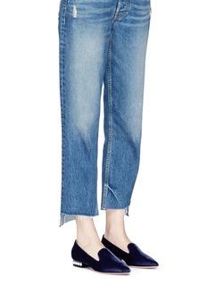 Nicholas Kirkwood 'Casati' faux pearl heel velvet skimmer loafers