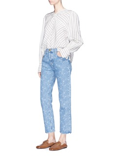 Current/Elliott 'The Original Straight' floral print cropped jeans