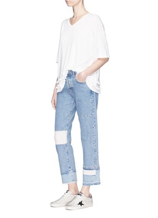 Current/Elliott 'The DIY Original Straight' repair patch cropped jeans
