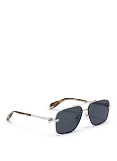 Alexander McQueenSkull stud metal aviator sunglasses