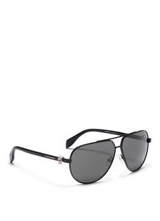 Alexander McQueen Skull stud metal aviator sunglasses