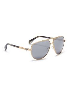 Alexander McQueenSkull stud metal aviator mirror sunglasses