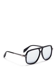 Alexander McQueenSkull stud acetate square mirror sunglasses