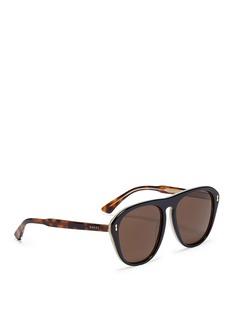 Alexander McQueenTortoiseshell effect temple acetate aviator sunglasses
