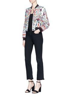 alice + olivia'Lonnie' beaded ethnic motif silk bomber jacket