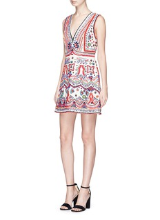alice + olivia 'Patty' beaded ethnic motif canvas dress