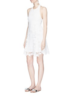 alice + olivia 'Susan' floral embroidered poplin and lace halterneck dress