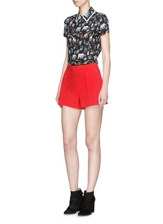 alice + olivia 'Willa' ruffle collar animal print silk top