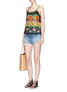 alice + olivia 'Moran' lace panel floral embroidered top