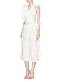 alice + olivia 'Samara' cutwork embroidery cotton culottes