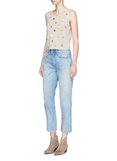 alice + olivia'Norma' pompom linen-cotton sleeveless sweater
