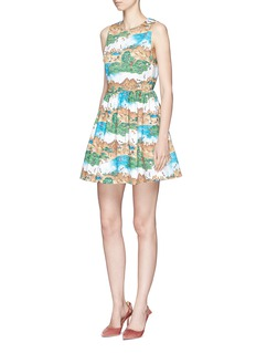 alice + olivia 'Joyce' Safari Land print cotton party dress