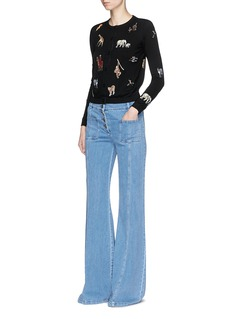 alice + olivia'Ruthy' animal embroidered patch cardigan