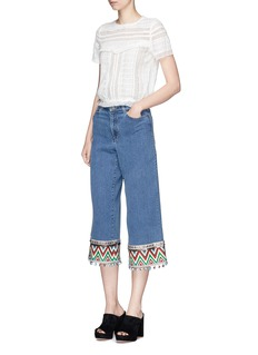 alice + olivia 'Beta' zigzag stripe embroidered cropped wide leg jeans