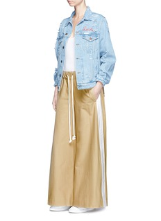 bassike Contrast outseam cotton twill culottes