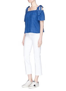 J Brand 'Evonie' detachable strap linen off-shoulder top