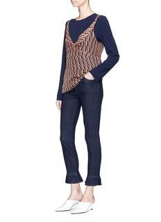 J Brand 'Maude' ruffle cuff high rise raw jeans