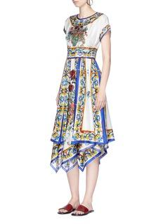 Dolce & GabbanaMajolica print silk twill handkerchief dress