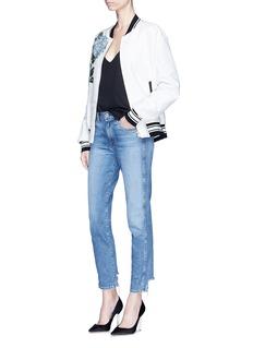 Dolce & Gabbana Hydrangea appliqué brocade and piqué bomber jacket