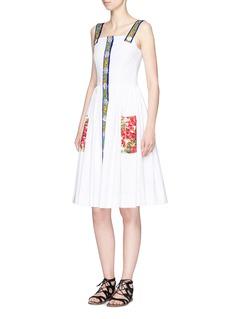 Dolce & GabbanaMajolica print textured cotton blend dress