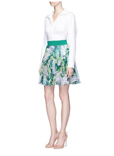 Dolce & GabbanaHydrangea print ruffle chiffon mini skirt