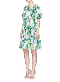 Dolce & GabbanaHydrangea print ruffle cold shoulder poplin dress