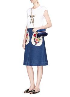 Dolce & Gabbana Majolica embellished appliqué denim midi skirt
