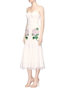 Dolce & GabbanaHydrangea appliqué strapless bustier fishtail dress